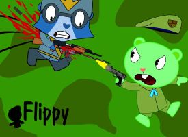 Flippy Shooting a TigerSoldier by Yudhaikeledai