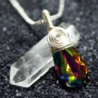 Rainbow MERMAID TEAR Pendant by Create-A-Pendant