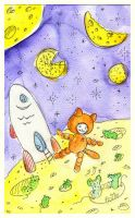 Space, cheese, cat and mice by jkBunny