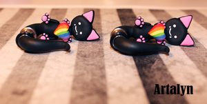 Custom Order Rainbow Sweetheart Ear Kitty Plugs by Artalyn