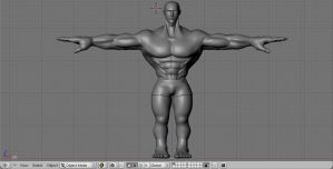 3d Muscular Male model base(update)(front view) by UR-Q
