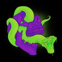 Neon Death Head by Karbacca