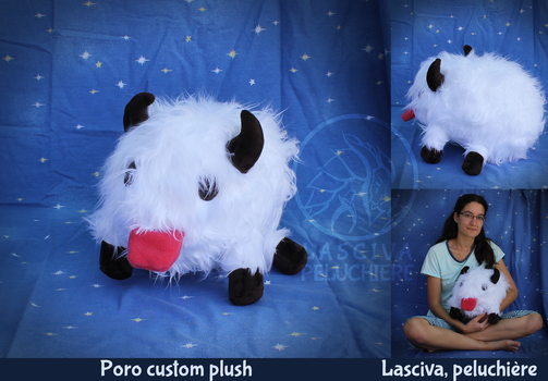 Poro fluffy life-size custom plush by Peluchiere