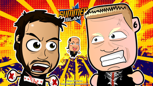 Chibi Punk vs Lesnar - WWE Summerslam Wallpaper by kapaeme