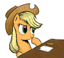 Applejack thinking by LazyMort
