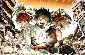 Boku no Hero Academia - Shouto, Izuku, Bakugou by Shumijin