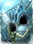 Hooper and the shark by acarabet