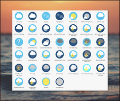 Flat Circle Weather Icons by schizo-ri