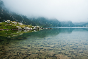 Misty morning lake by Zwoing