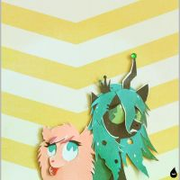 Fluffle Puff and Queen Chrysalis. by MonotoneInkwell