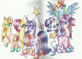 Mane 6 WIP by Careness