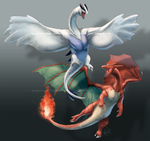 Lugia and Charizard coloured by ShadeofShinon