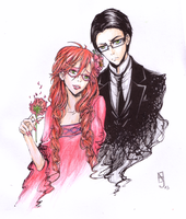 Kuroshitsuji: Ophelia Grell and William colored by Monsterkatze