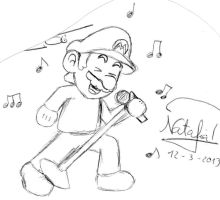 Mario singing by Dino-drawer