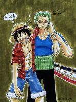 zoro and drunk luffy by heivais