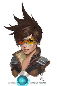 Tracer - Overwatch (Portrait Series) by castcuraga