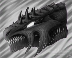 Dragon Head Sketch  04/07/2015 by LeviaDraconia
