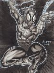 SPIDER MAN INK WASH PIN UP by AHochrein2010