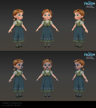 Anna child - Low poly model for Frozen Free Fall by Shaka-zl