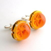 Orange LED Array Cufflinks by Techcycle