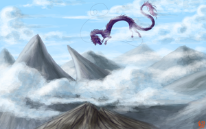 dragon in the mountains by Erleuchtete