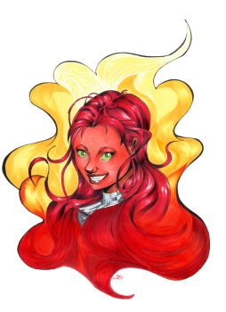 Red-headed Starfire by 2amsleeper