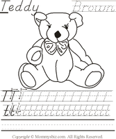 Mommysbiz | T-Teddy-Brown Preschool Worksheet by DanaHaynes