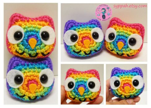 Bright Rainbow Owls by syppahscutecreations