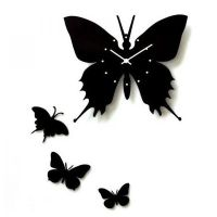 Art Butterfly Wood Wall Clock by tracylopez