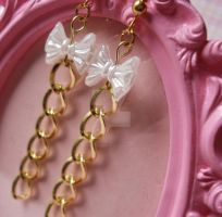 Pearly Bow and Chain Earrings by FatallyFeminine