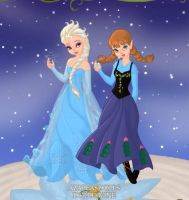 Elsa and Anna on the Pixie scene-maker by LadyAquanine73551
