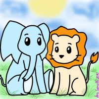 Baby Lion and Elephant by aninhachanhp