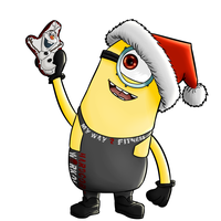 Commission - Christmas Workout Minion by KingVego
