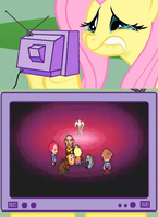 Fluttershy crying over mother3 by Nessearthbound