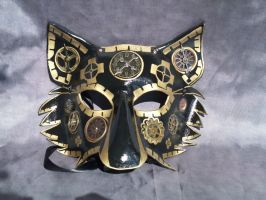 Wolf mask, Gold with Steampunk elements by Jedi-With-Wings