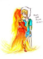 drawing for Fuluv: finn and flame princess older by NENEBUBBLEELOVER