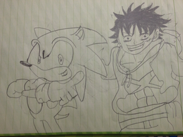 Sonic and Luffy my drawing by Aquamimi123