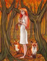 The Girl with Foxes by TinyQ