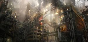 Environment concept art - Industrial building 1 by derrickSong