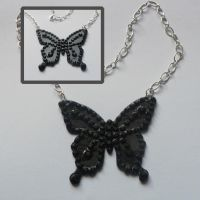Black Butterfly necklace by Octobralia