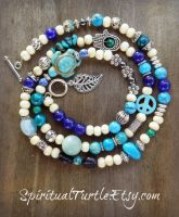 Blue Multi Stone and Wood Beaded Wrap by spiritualturtle