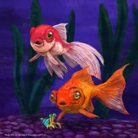 Weekly 5 - Goldfishes and Hermit Crab by Pink-Shimmer