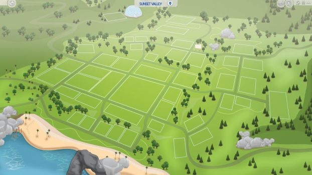(Sims 4 Fanmade Map) Sunset Valley by filipesims