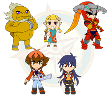 Assorted Chibis - Warriors of Fire and Dragons by Dragon-FangX