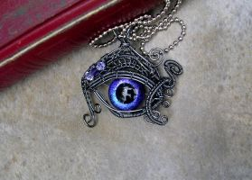 Wire Wrap - Violet Storm - Dragon Evil Eye by LadyPirotessa