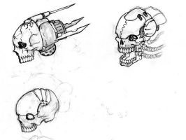 Cybernetic Skull drawings by Iron-Fox