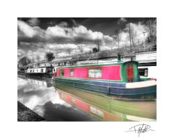 Canal barges - Tonemapped - Colour on B+W by Paul-Madden