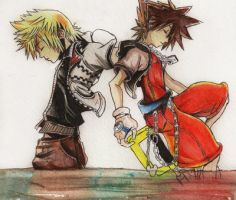 Roxas and Sora watercolour by MyaWho