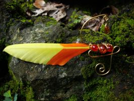 Chocobo feather hair barrette by alchemymeg