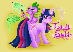 Twilight Sparkle and Spike by LightDarkSoul